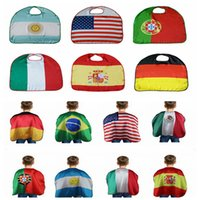 Wholesale usa soccer flags - World Cup Flag Costume Cape National USA Italy Germany Flag Cloak Clothing Kids for World Cup Olympic DDA368