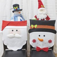 Wholesale santa clause christmas decoration - Christmas Chair Covers Santa Clause Snowman For Dinner Home Decorations Supplies Hotel Restaurant Party Ornaments CCA10084 20pcs