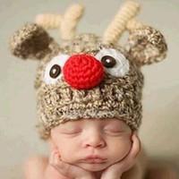neugeborene häkelarbeit weihnachten hüte großhandel-New Newborns Handmade Crochet Hirschhorn Hut Cute Baby Hirschgeweih Strickmütze Foto Requisiten Infant Weihnachtsgeschenke Wollmütze
