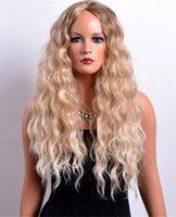28 inç sentetik saç toptan satış-Moda Sıcak 28 Inç Uzun Afro Kıvırcık Sarışın Renk Amerikan Sentetik Saç Kadınlar için Ombre Peruk Peruk