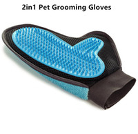 Wholesale High Quality Hair Products - High Quality 2in1 Pet Grooming Gloves Tool Furniture Pet Hair Remover Mitt Gentle Deshedding Brush Rubber Tips for Massage Foe Dog Cat