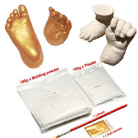 Wholesale Foot Cast - 1 Set Silver Gold 3D Plaster Handprints Footprints Baby Hand & Foot Casting Mini Kit Keepsake Gifts