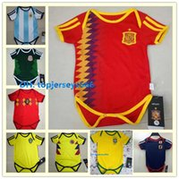 Wholesale grey baby jumpsuit - Spain Baby soccer jerseys 2018 World Cup CHICHARITO DE BRUYNE MBAPPE ISCO JAMES 6-18 month baby Jumpsuit football jersey shirt