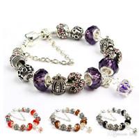 pulseras de cuentas personalizadas al por mayor-Pulsera del encanto 925 pulseras de Pandora de plata para las mujeres Pulsera real de la corona Cuentas de cristal púrpura Diy joyería con logotipo personalizado