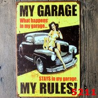 Wholesale vintage badges for sale - Group buy Metal Painting New Garage Pin up Lady Route66 Tin sign Art wall decoration House Cafe Bar Vintage Metal craft