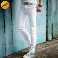 Wholesale casual fashion jeans boy for sale – denim Midweight Fashion White Color Skinny Jeans Men Hip Hop Pencil Pants Teenagers Boys Casual Slim Fit Cuffed Bottoms Softener