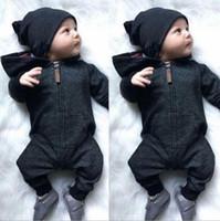 pamuklu olanlar kızlar için toptan satış-Ins Çocuklar Pamuk Giyim Bebek Fermuar Kapüşonlu Tulum Toddler Kız Uzun Kollu Tulumlar Bebek Erkek Tasarımcı Onesies Açık Chothes YL761
