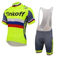 Wholesale jersey cycling saxo green online - 2018 Tinkoff Saxo Cycling Jerseys Set Short Sleeve With Padded Bib None Bib Trousers Bicycle Clothes Close Fitting three colors