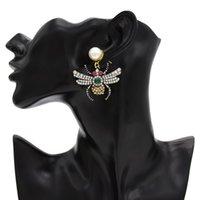 ingrosso forma della pera del rhinestone-idealway nuova personalità di modo delle donne Pera prigioniera del Rhinestone di cristallo dell'orecchino di goccia insetti a forma di gioielli ciondola festa di nozze