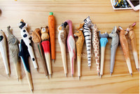 Wholesale lovely ball pen - Handmade Ballpoint Pen Lovely Artificial Wood Carving Animal ball pen Creative Arts blue pens gift New many color DHL Free