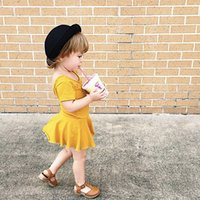Wholesale Bottom Boat - Girls Ginger Bottoming Skirt Short Sleeve Yellow Dress Pure Cotton Solid Color Soft Skirt Summer 1-6T