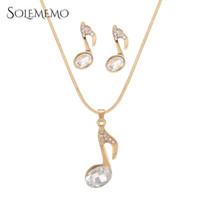 musikalische perlen groihandel-Solememo 2018 Musical Note Imitation Perlenkette und Ohrring-Set Goldkette Anhänger Schmuck Sets für Frauen Art und Weise neu N6188