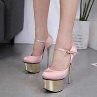 16cm rosa schuhe großhandel-16cm Super Plattform ultra High Heels schwarz rosa Satin Hochzeit Schuhe Größe 34 bis 40