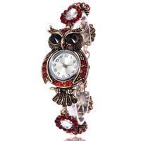 mujer búho reloj al por mayor-Reloj búho de lujo Reloj de pulsera de cristal con la marca Top Reloj de diamantes Reloj casual con pulsera de mujer Cuarzo