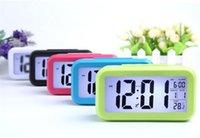 calendriers de bureau horloge achat en gros de-Réveil numérique Smart Sensor Veilleuse avec thermomètre de température Calendrier Horloge de table de bureau silencieuse G349