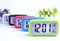 Wholesale smart sensor alarm wholesale online - Smart Sensor Nightlight Digital Alarm Clock with Temperature Thermometer Calendar Silent Desk Table Clock G349