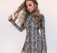 Wholesale Dress Slim Tight - Europe And The United States Qiu Dongkuan Slim Slim Snake Print Turtleneck Long Sleeved Dress Bag Hip Skirt Tight Backing