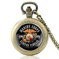 4ea5dffbef8 Clássico de bronze dos Estados Unidos Semper Fidelis Marines Quartzo Relógio  de Bolso Retro Dos Homens Das Mulheres Colar de Pingente de Relógios  Presentes