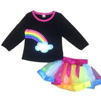kiz zarif elbise toptan satış-Noel gökkuşağı bebek kız elbise çocuk giysileri kıyafetler üstleri + tutu yay elbise 2 adet / takım zarif moda çocuk giyim suit