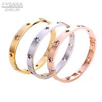 манжета браслет из нержавеющей стали европейский оптовых-FYSARA мода полые звезды браслеты браслеты для женщин модные ювелирные изделия из нержавеющей стали розовое золото серебро манжеты браслеты Европейский