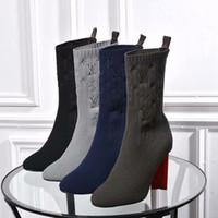 трикотажная пряжа оптовых-женская обувь на высоких каблуках открытые шерстяные пряжи вязание лодыжки натуральная кожа водонепроницаемые сапоги чистый цвет