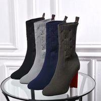 ingrosso scarpe di filati-scarpe donna tacco alto aperto filato di lana per maglieria stivaletti stivali impermeabili in vera pelle colore puro