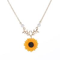 kupfer rosa rose großhandel-Europäischen und amerikanischen einfachen Schmuck Artikel Perle Sun Blume Halskette feminine Mode Sunflower Anhänger Großhandel Schmuck