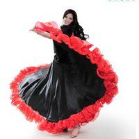 ballsaal tanz röcke für frauen großhandel-Spanisch Bullfight Festival Performance Tanz Flamenco Rock für Frauen Highq Qualität Flame Floral Plus Size Ballroom Frauen Rock