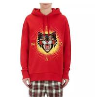 Wholesale High Quality Clothing Brands - Men's Cotton Fashion Brand Hoodies Men's Gas Field Cat Sticker Hooded Clothing Red Black High Quality Pullover Size M-3XL