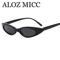 vasos para agua al por mayor-ALOZ MICC 2018 Sexy Ladies Cat Eye Sunglasses Mujeres Marca Diseño Pequeño Water Drop Shape Sun Glasses Female Oculos A508