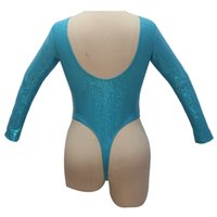 ingrosso tanga bassi basso-Turquoise Pole Dancing Women body Long Sleeve manica lunga con spalline in nylon body in lycra con motivo maculato