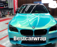 Wholesale magic car for sale – best Blue gold Gloss Colorfow shift to gold Vinyl Wrap For Car Wrap Film Magic glossy Low tack glue quality Size m x67ft