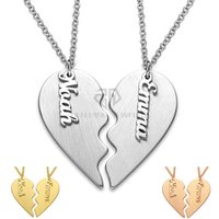 b77ef29fa Valentine's Day Gift Personalized Classic Breakable Heart Custom Couple  Necklace Stainless Steel Two Half of a Single Heart Name Pendant Set