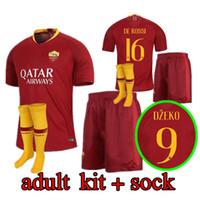 Wholesale roma football jersey online - 18 ROME home Soccer Jerseys uniforms TOTTI ROMA DZEKO Sports DE ROSSI Jersey EL SHAARAWY NAINGGOLAN Football Shirt kit sock