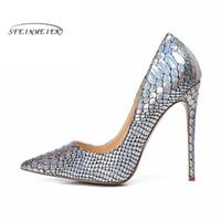 5c3967e56dd532 2019 donne pompe tacchi alti scarpe da festa di nozze argento tacco alto  sexy primavera donne scarpe scarpe a punta pompe per le donne