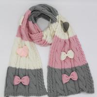 Russo elegante cavo maglia inverno caldo guanti sciarpa cappello acrilico  caldo con nodo fiocco 3 pezzi set rosso rosa 2 colori LL180388 f0c9032eee46