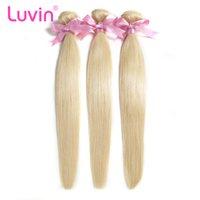 brezilya insan saçı düz örgüler toptan satış-Luvin Brezilyalı Remy Düz Saç 1 ADET 613 Sarışın Saç Demetleri 100% İnsan Saç Dokuma Paketler Ücretsiz Kargo