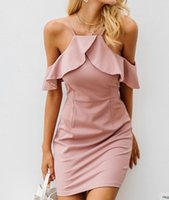 falda con volantes vestido casual al por mayor-Spaghett Strap Cold Shoulder Ruffle Dress Mujeres Sexy con cuello en V Backless Split Bodycon Vestidos Imperio Navidad Elegante fiesta Falda Vestidos