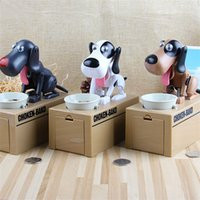 Wholesale coin box design - Automatic Dog Steal Coin Piggy Bank Creative Design Cartoon Money Box For Kid Gifts Multi Color 21mh C R