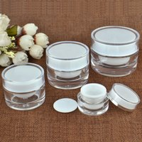 Wholesale white frosted cosmetic resale online - 5 g ML Round Acrylic Jar White Jar With Liner Container Empty Cream Jar Plastic Cosmetic Packaging Bottle