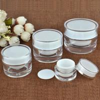 acryl kosmetik gläser flaschen großhandel-5 10 15 20 30 50g ML Runde Acrylglas Weiß Glas Mit Liner Container Leere Sahneglas Kunststoff Kosmetische Verpackung Flasche 110 stücke