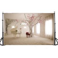 fond de photos en intérieur achat en gros de-5x3FT paysage intérieur vinyle photographie fond pour studio accessoires photo piano et arbre décors photographiques 150 x 90 cm