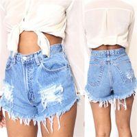 Wholesale High Waisted Denim Shorts Fashion - Fashion Women Summer High Waisted Denim Shorts Jeans Hot Beach Casual mini Denim shorts loose Casual 2018 JC020
