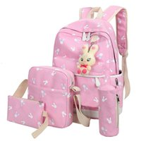 Wholesale teenage girl canvas backpacks - 4Pcs Sets 2018 Women Backpacks Cartoon Rabbit Printing School Backpack Canvas Schoolbags for Teenage Girls Students Bag Children