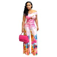Wholesale wide leg jumpsuits for sale - 2018 New Off The Shoulder Women Bodycon Jumpsuits Color Printed Loose Wide Leg Jumpsuit Sexy Clubwear
