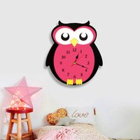 Wholesale wallpaper art home online - Cute Owl Wall Clock Watch Stickers Home Decor Bedroom Decoration Wall Mirror wallpaper Household Art and Craft Suppiles