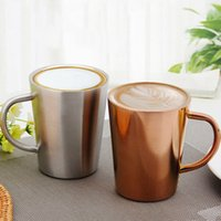 Wholesale double resistance - Stainless Steel Cup 350ML Double Layer Plated Coffee Cup Heat Insulation Resistance Milk Tea Mug OOA4726