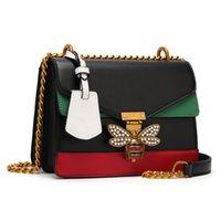 schlüsseltaschen großhandel-Luxusmarke Frauen Farbe Spleißen Kleine Bee Taschen Dame Clutches Schlösser Berühmte Designer-handtaschen Gold Kette Schulter Umhängetasche