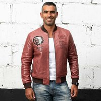 6eb160b2fb3 2 colours Men AVIREXFLY genuine leather jackets INDIANS Embroidery flight  bomber suits sheepskin leather