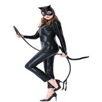 trajes sexy de halloween do gato preto venda por atacado-Gato preto meninas Halloween Catsuit Cosplay Whip Costume Sexy Macacão De Couro Sintético XS-XL Tamanho